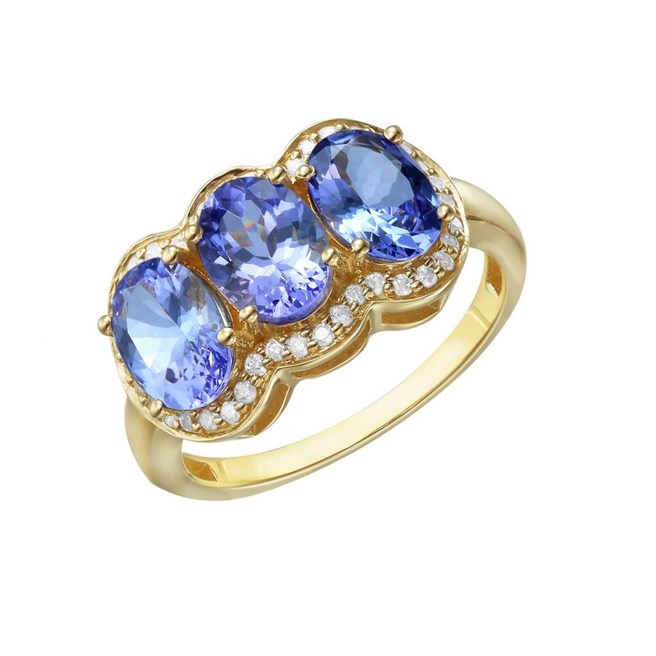 9ct Yellow Gold, 3.13ct Tanzanite and Diamond Ring