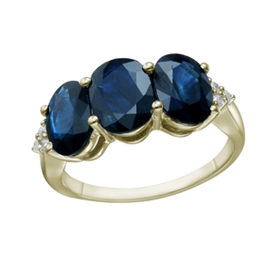 9ct Yellow Gold, 4.89ct Blue Sapphire an