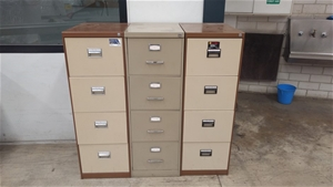 Three Metal Filing Cabinets - 4 Draw Cab