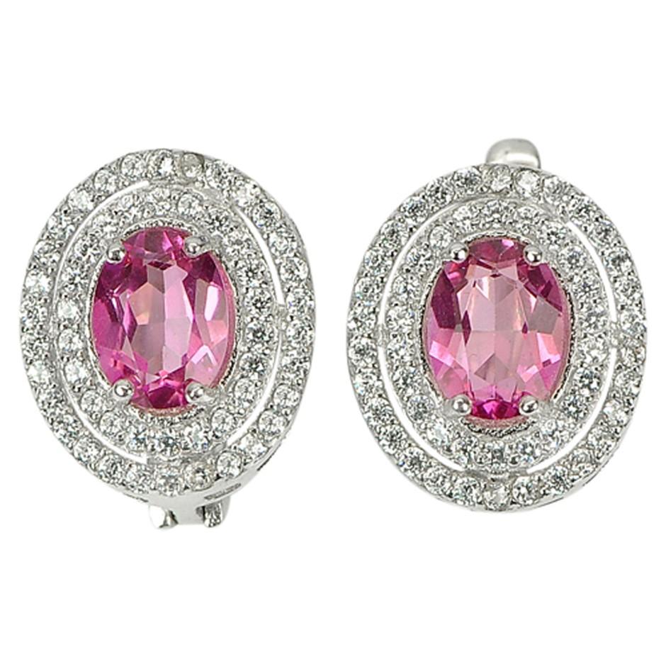 Gorgeous Genuine Pink Topaz Sterling Silver Huggie Earrings.