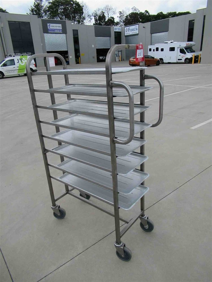 8 Tier Stainless Steel Frame Butchers Trolley with 8 Aluminium Trays