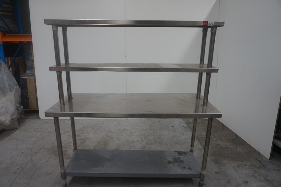 Commercial Stainless Steel Bench with Double Overshelves