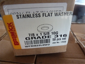 Qty 650 x 316 Stainless Steel Flat Washe