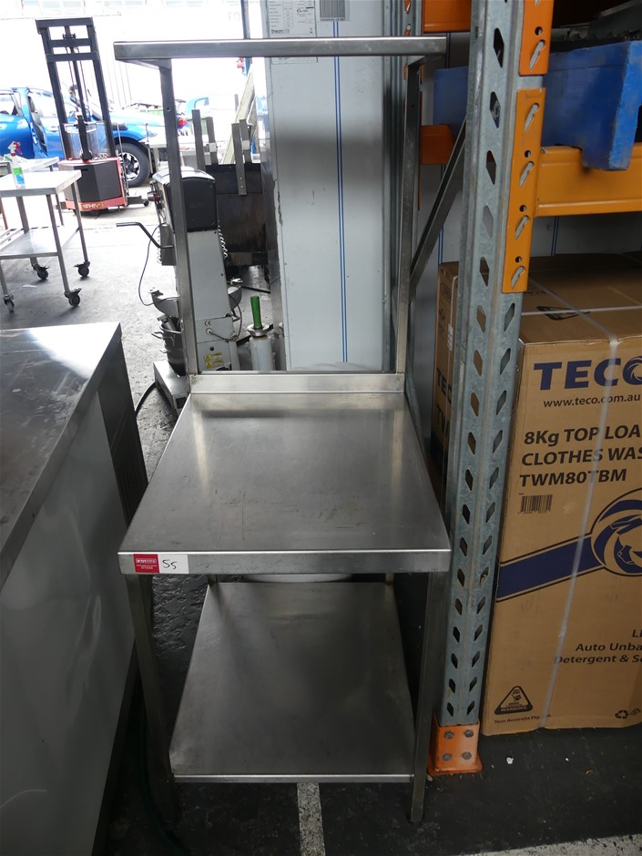 Stainless Steel Food Preparation Bench with Upper and Lower Shelf