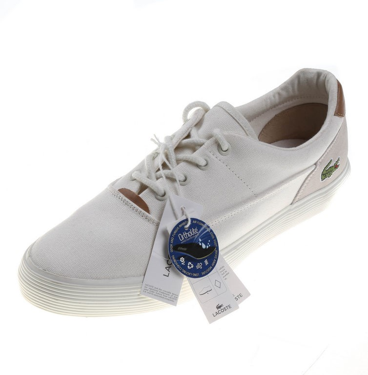 LACOSTE Jouar Canvass Boat Shoes, UK Size 12, Off-White w/ Leather Heel Pro