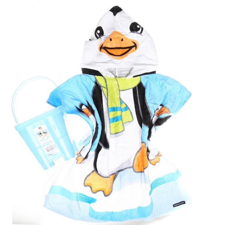 PONCHO PAL - Hooded Towel & Bucket DANCING Penguins. N.B. Bucket has no lid