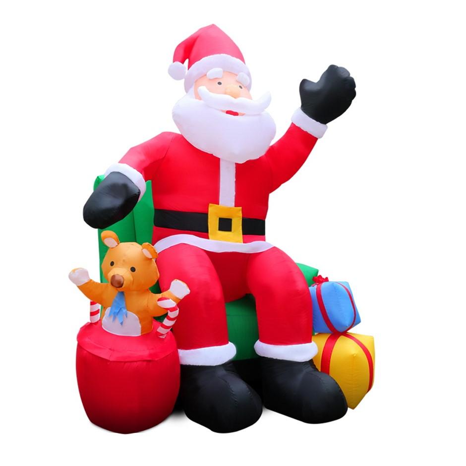 Jingle Jollys Inflatable Christmas Santa 2.4m Lights Xmas Airblown