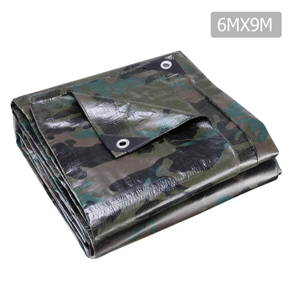 Instahut 6x9m Canvas Tarp Heavy Duty Poly Tarps Tarpaulin Cover Camouflage