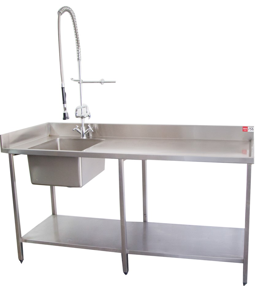 Stainless Steel Freestanding Single Bowl Sink with New Spray Rinse Arm