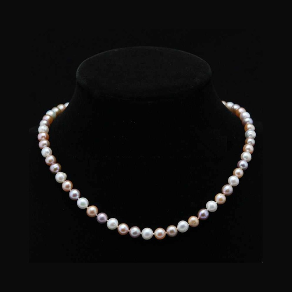 """Genuine 7-8mm White & Pink & Purple Akoya Cultured Pearl Necklace 20"""""""
