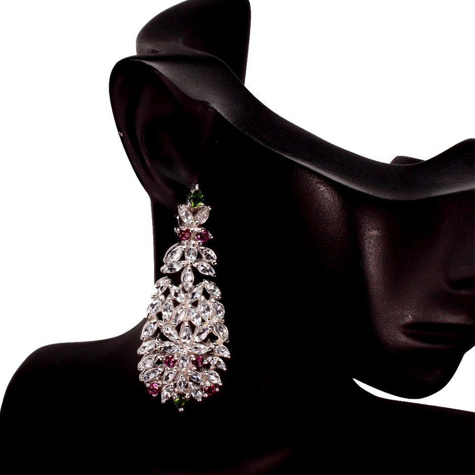 Spectacular Genuine Aquamarine & Garnet Drop Earrings