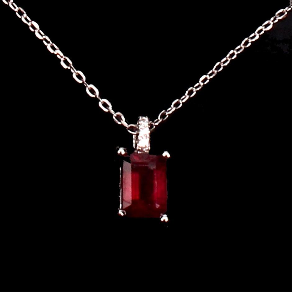 Striking Genuine Ruby Pendant & Chain