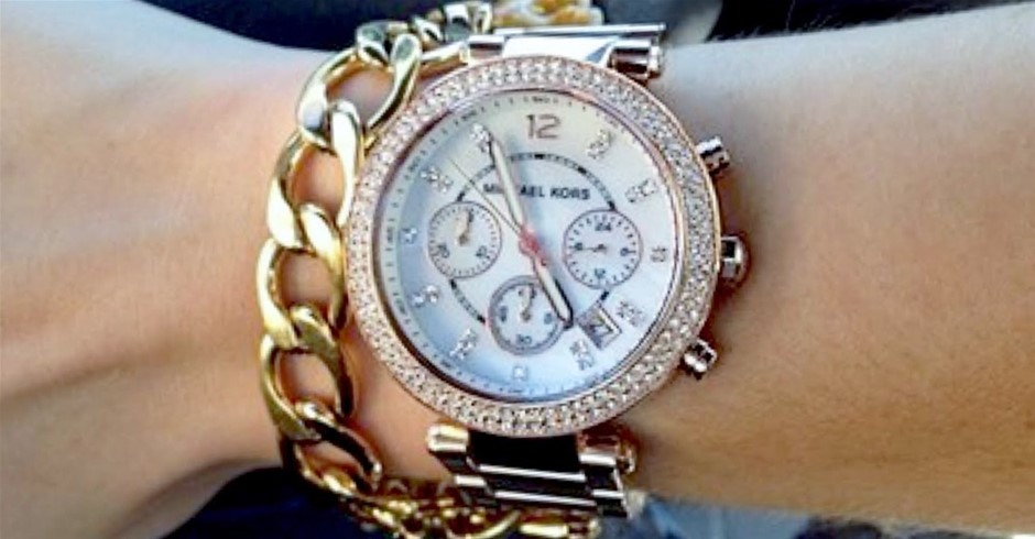 New Michael Kors Couture dual time chronograph watch.
