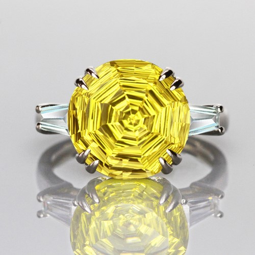 Spectacular Genuine Lemon Citrine Fancy Cut Ring