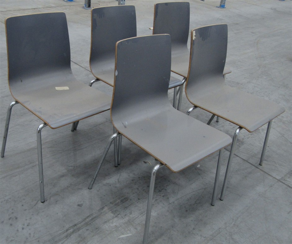 5 x Laminated Wooden Chairs with Metal Frame