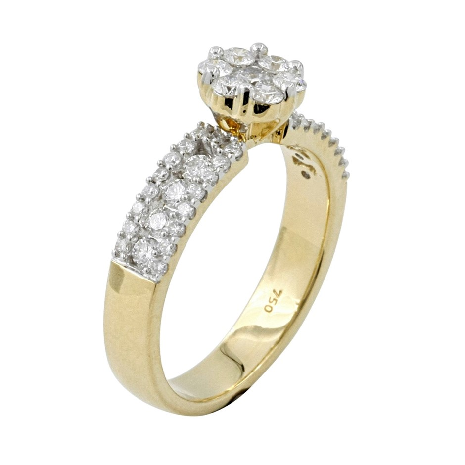 18ct Yellow Gold, 0.82ct Diamond Ring