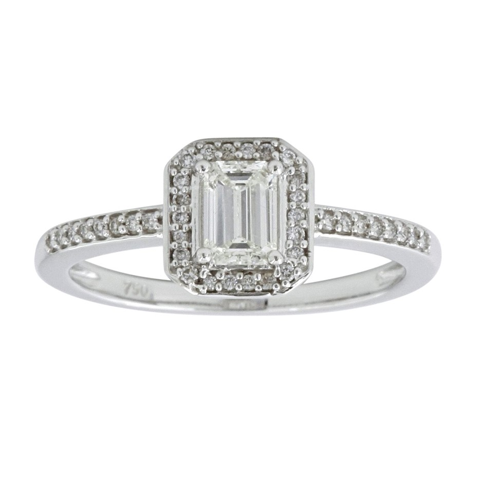 18ct White Gold, 0.56ct Emerald cut Diamond Engagement Ring