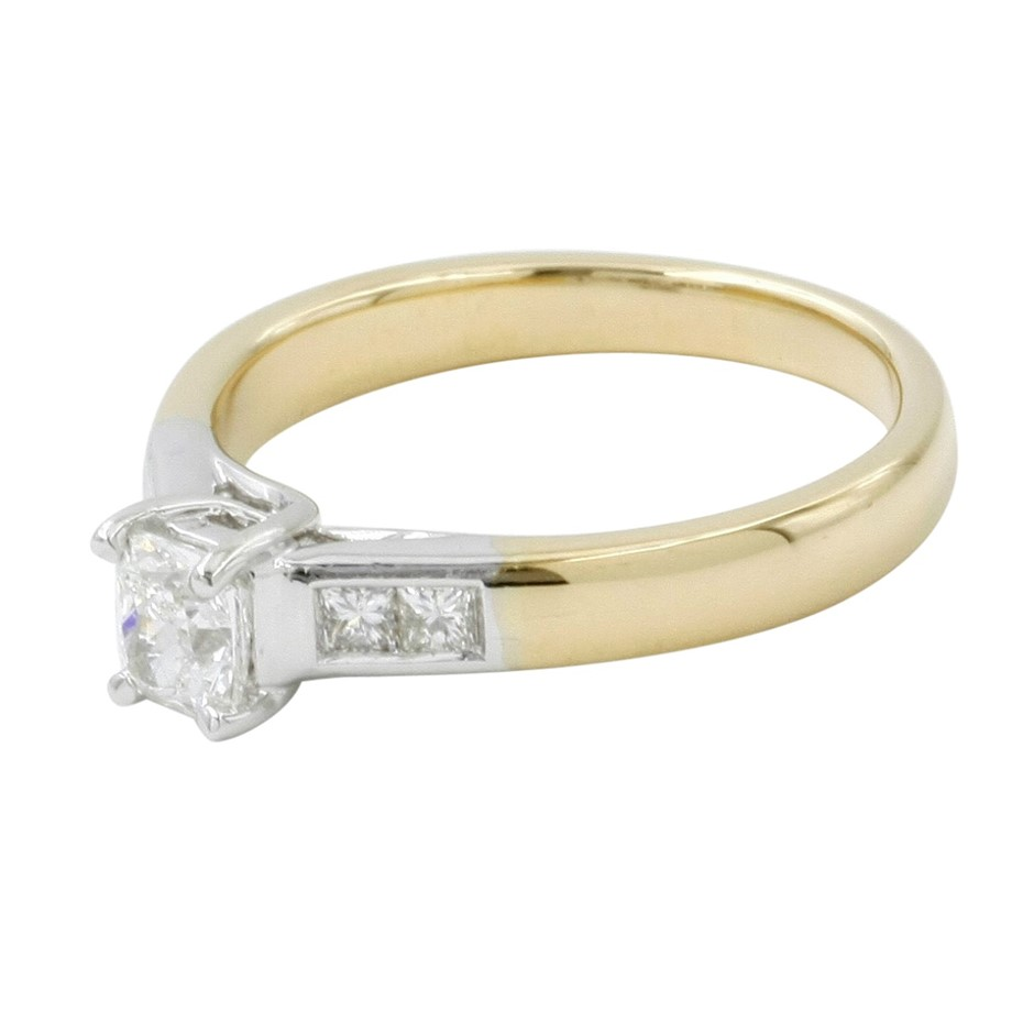 18ct Yellow and White Gold, 0.70ct Diamond Engagement Ring
