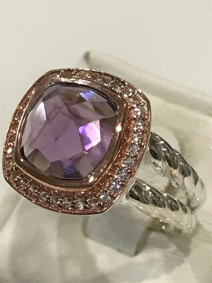 Lovely Amethyst Halo Ring 18K Rose/White Gold Vermeil