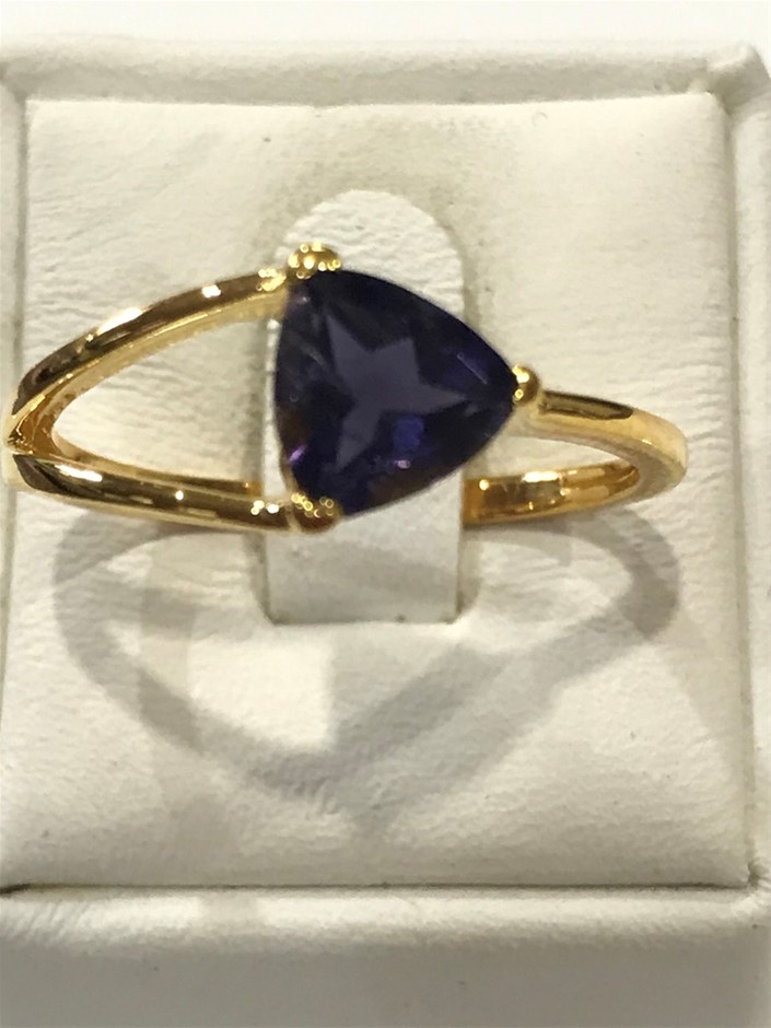 Brilliant 2.00ct Iolite & 18K Gold Vermeil Ring