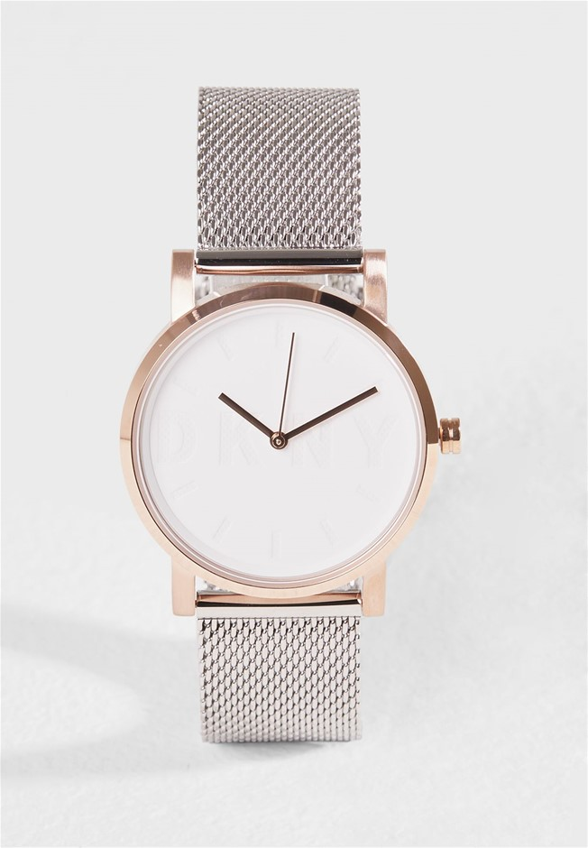 Gorgeous new DKNY Soho Rose Gold Dial Ladies Watch.