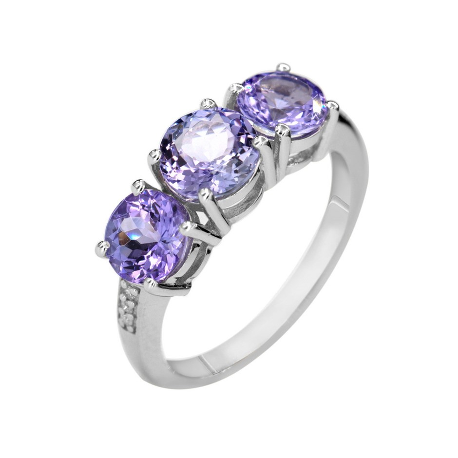 9ct White Gold, 2.80ct Tanzanite and Diamond Ring