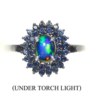 Amazing Genuine Fire Opal & Sapphire Rin