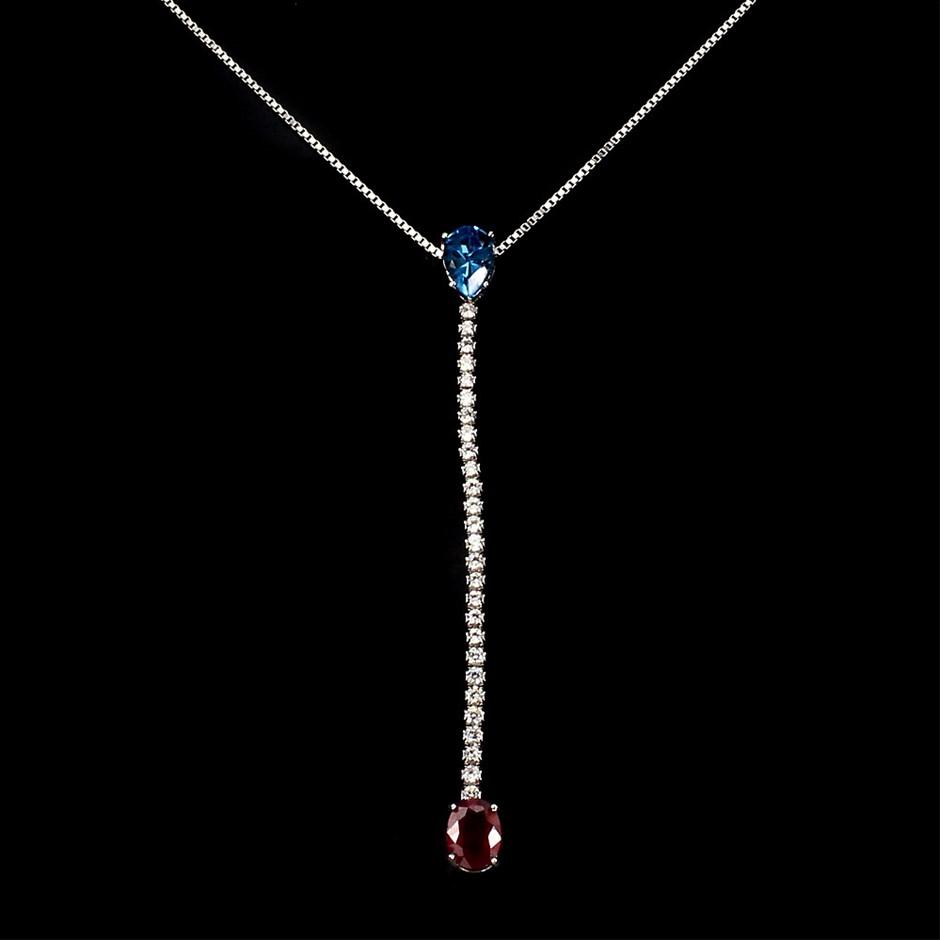 Beautiful Genuine Ruby & Blue Topaz Drop Necklace