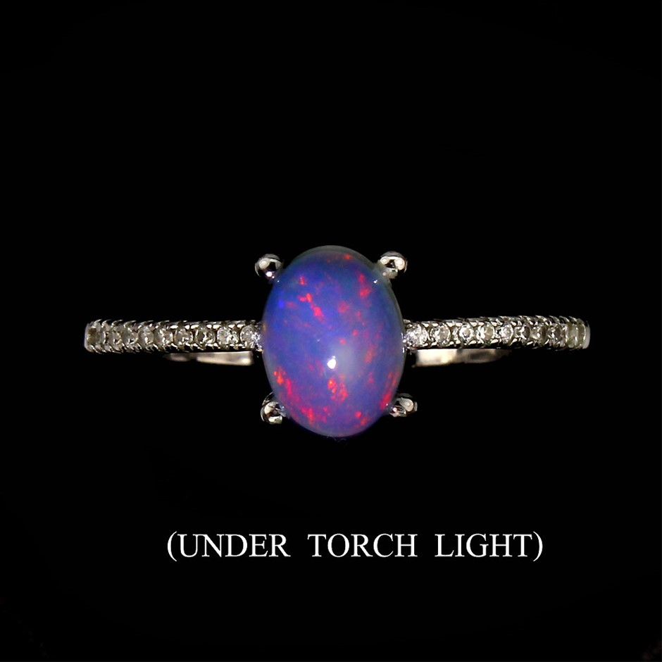 Genuine Fire Opal Solitaire Ring