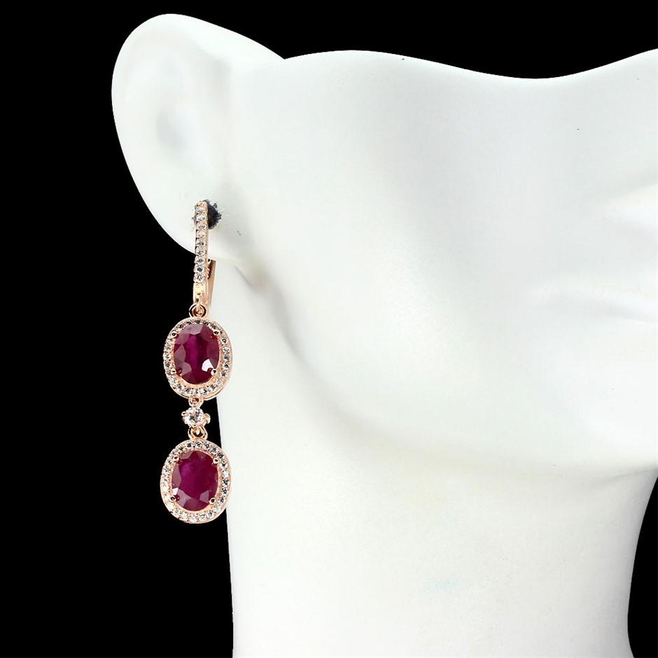 Delightful Genuine Ruby Drop Earrings