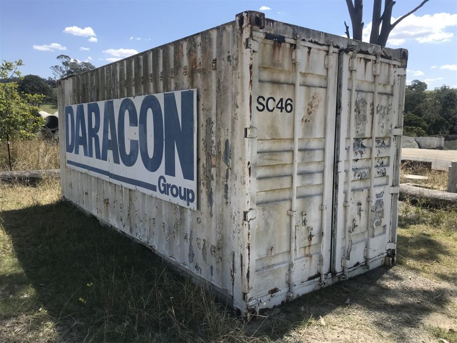 20' Container, S/n SC46, plywood floor, metal shelving