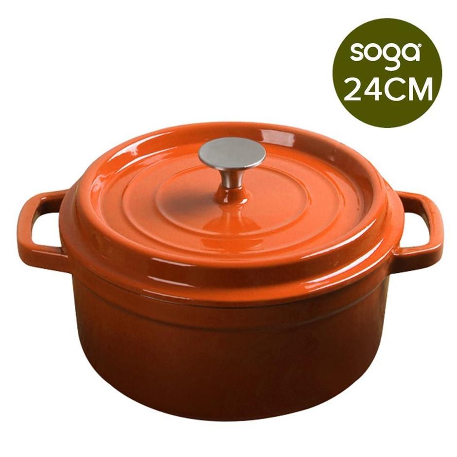 SOGA CastIron 24cm Enamel Porcelain Casserole Cooking Pot & Lid 3.6L Orange