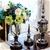 SOGA 2 x Clear Glass Flower Vase with Lid & White Flower Filler Vase Black