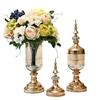 SOGA 2 x Clear Glass Flower Vase with Lid & White Flower Filler Vase Gold