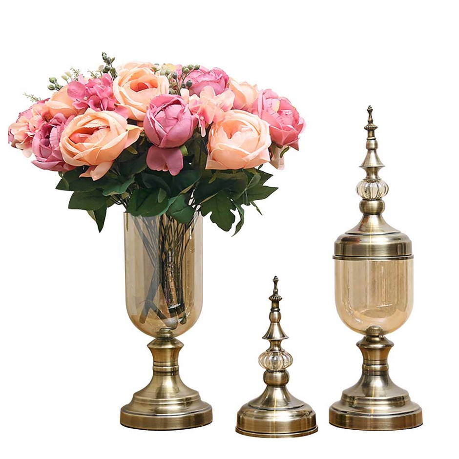 SOGA 2 x Clear Glass Flower Vase with Lid & Pink Flower Filler Vase Bronze