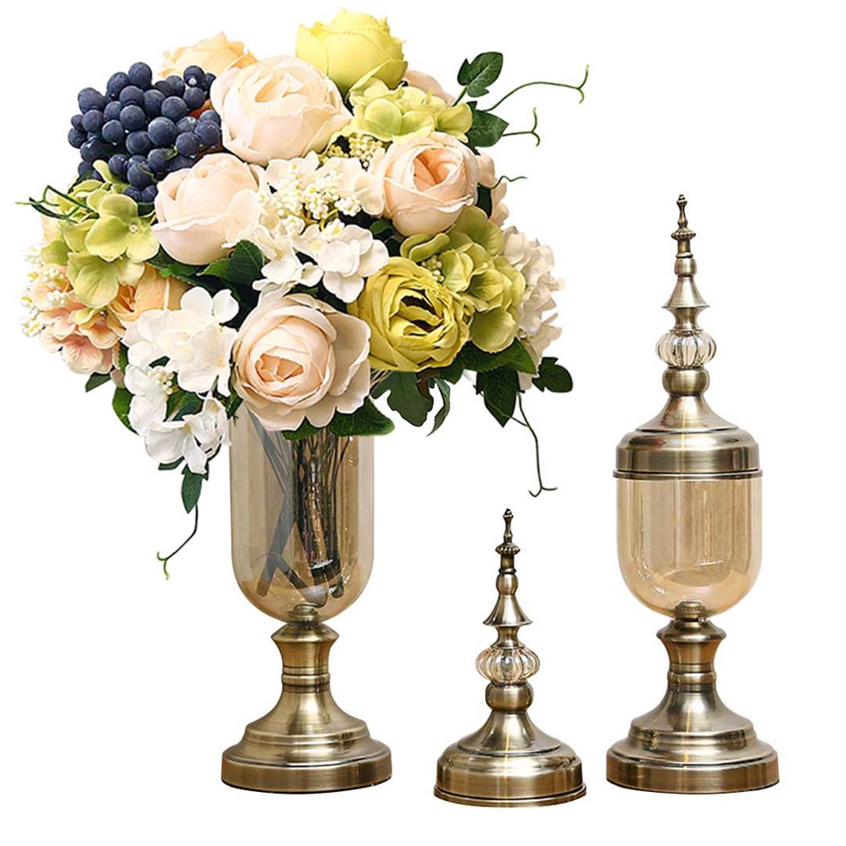 SOGA 2x Clear Glass Flower Vase with Lid & White Flower Filler Vase Bronze