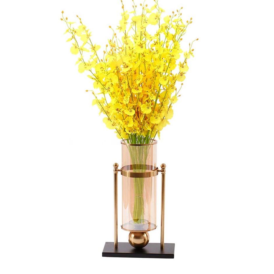 SOGA 40cm Modern Transparent Glass Flower Vase with Artificial Flower
