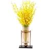 SOGA 40cm Modern Transparent Glass Flower Vase with Artificial Flower