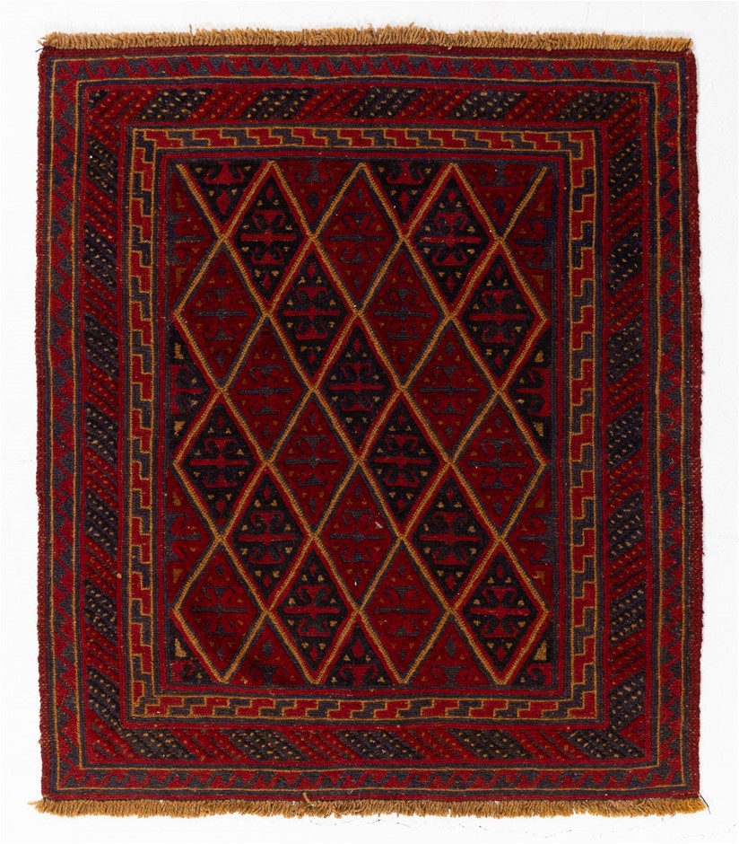 Afghan Meshwani Mixed Weave Hand Knotted Wool Pile Rug Size (cm): 105 x 114