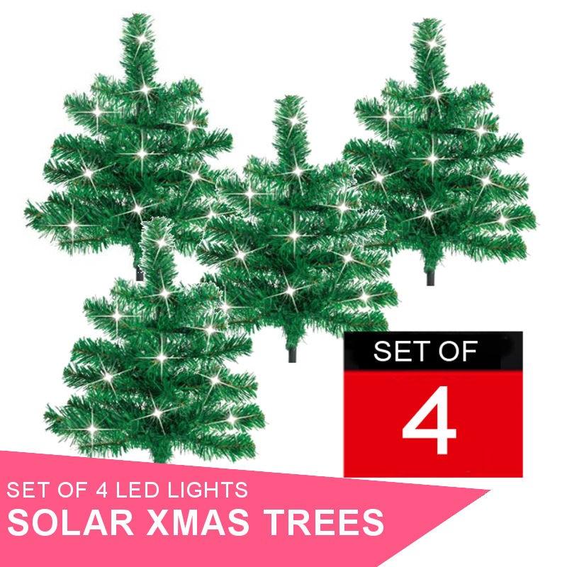 Set of 4 x Solar Powered Christmas LED Trees.