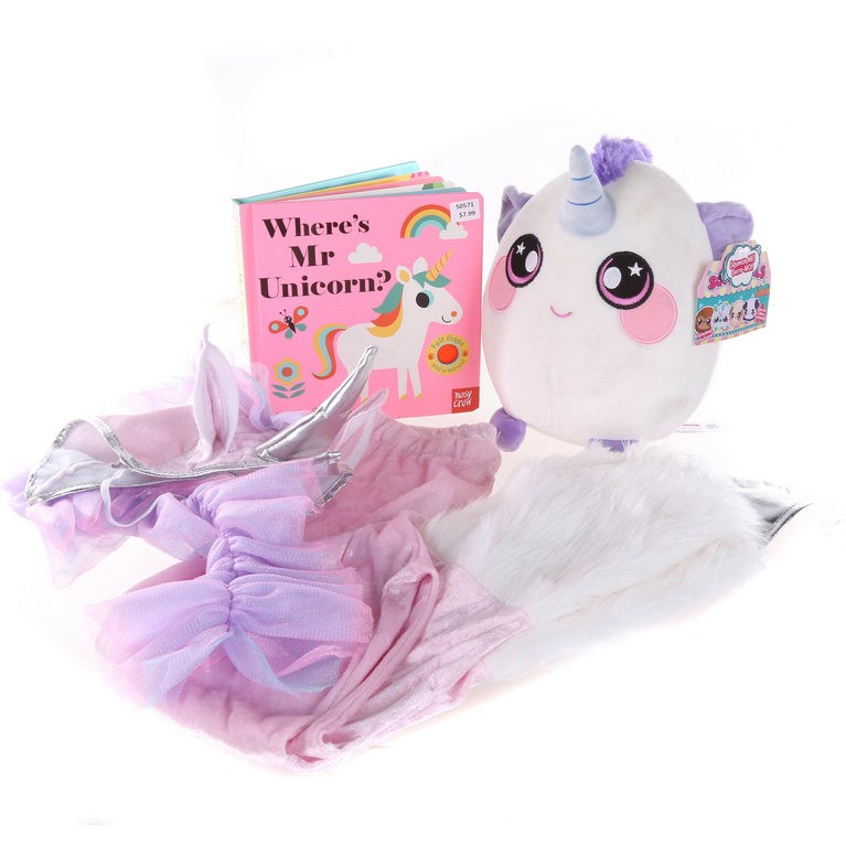 UNICORN Pack, Includes; Pants, Headpiece Book & Squishmallow N.B. Slightly