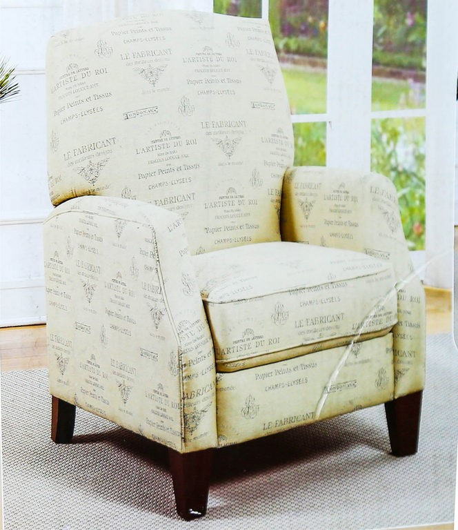 SYNERGY Fabric Pushback Recliner w/ Solid Wooden Legs, Spring Suspension. (