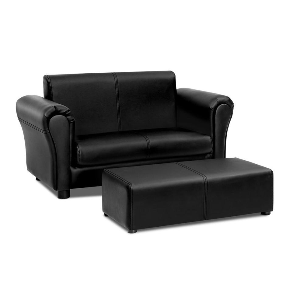 Keezi Kids Sofa Armchair Footstool Set Lounge Chair Couch Double Black