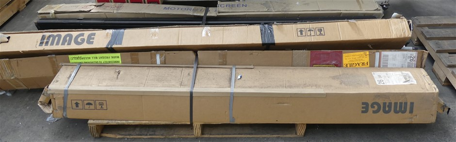 Pallet of assorted Projector Screens & Tripods