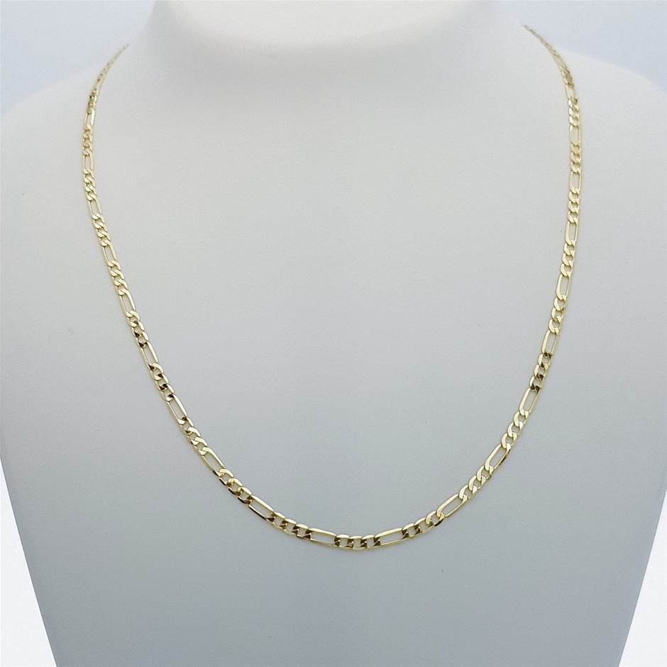 Genuine Italian Solid 9 Karat yellow Gold 60 cm Figaro chain necklace