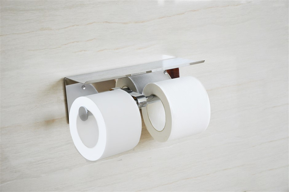 Stainless Steel Double Toilet Paper Holder Towel Roll Storage Shelf