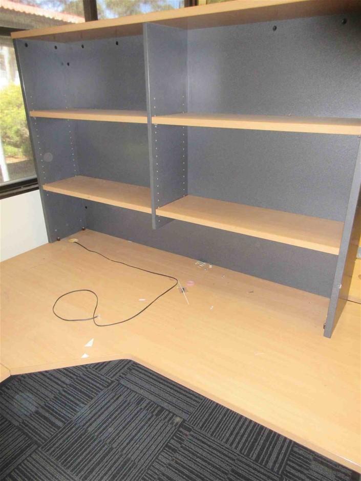 Corner Desk and with Desk Mounted Bookcase Plus Pedestal