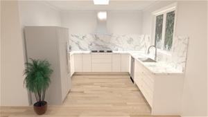 White Melamine Kitchen Cabinets with 2-P