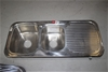 Stainless Steel Kitchen Double Bowl with Drainage Board