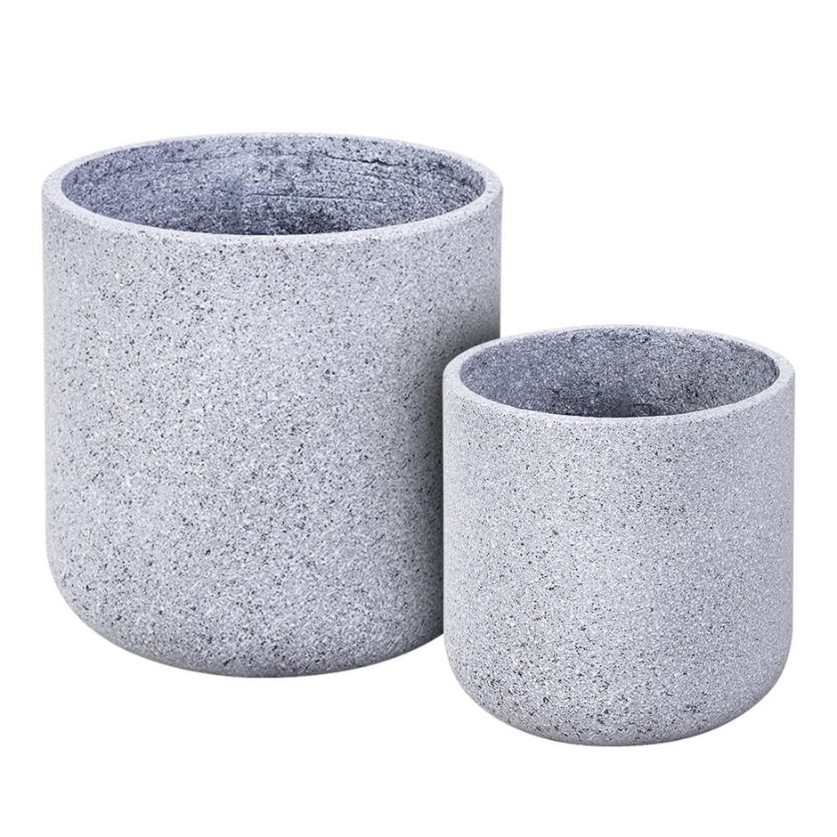Gardeon 2X Plant Pots Stone Large Garden Indoor Outdoor Decor Grey Oval